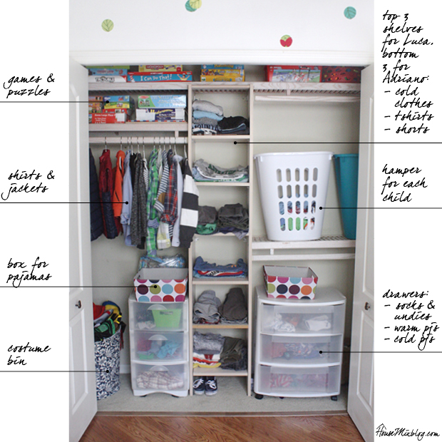 How to organize a boys shared closet