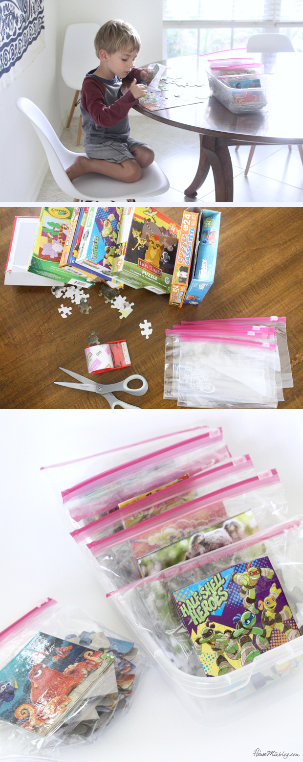 How to organize dollar tree puzzles with ziplock bags and packing tape