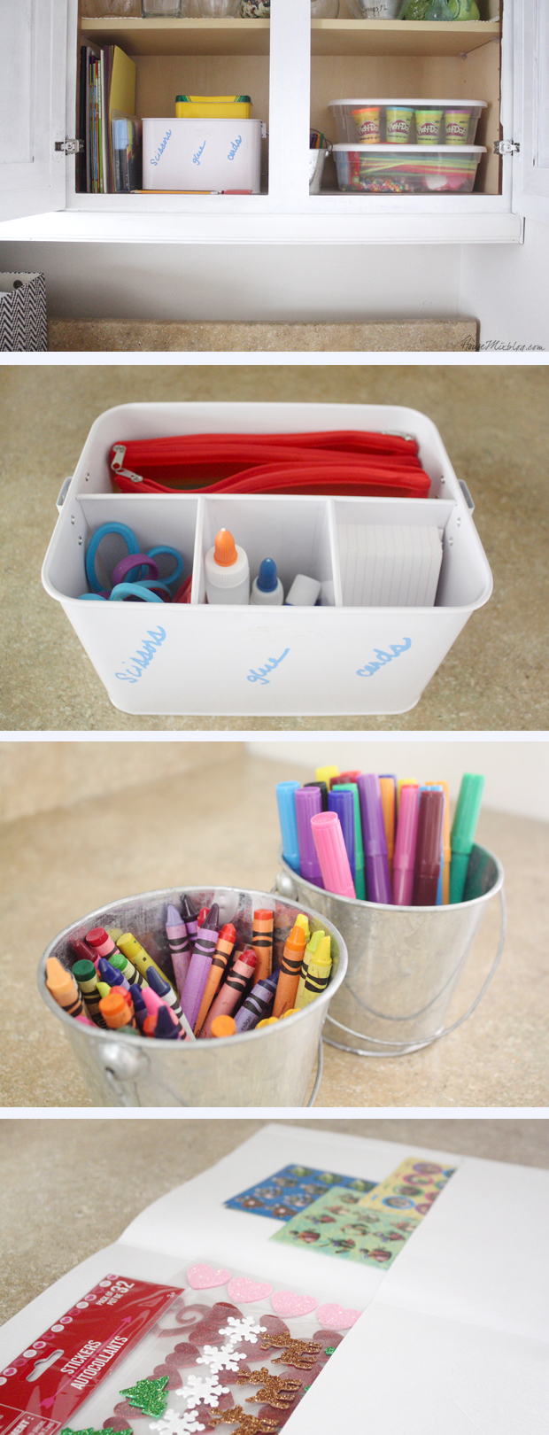 Kid art supplies and craft space organization in cabinet