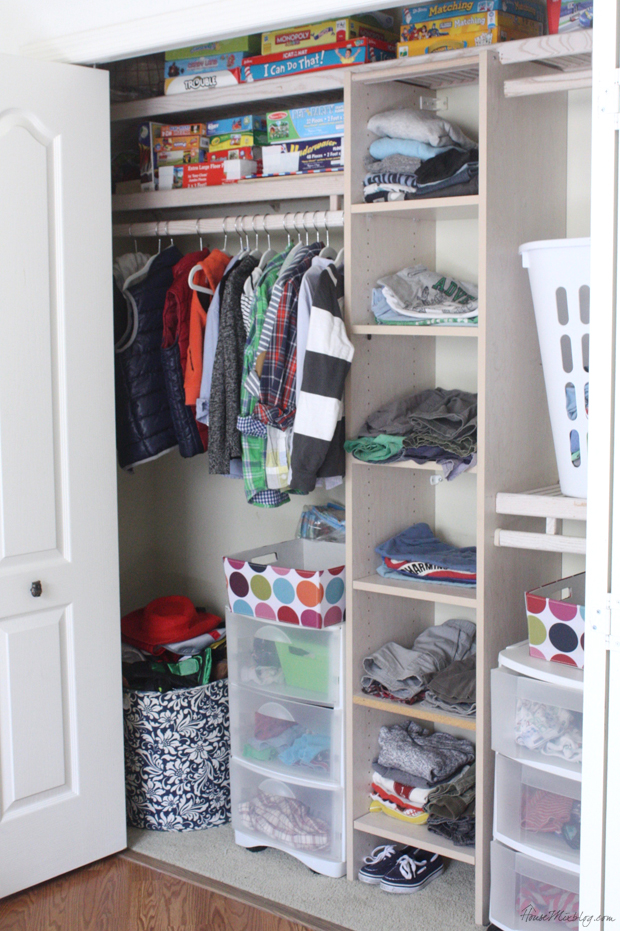 Organizing a boys shared closet