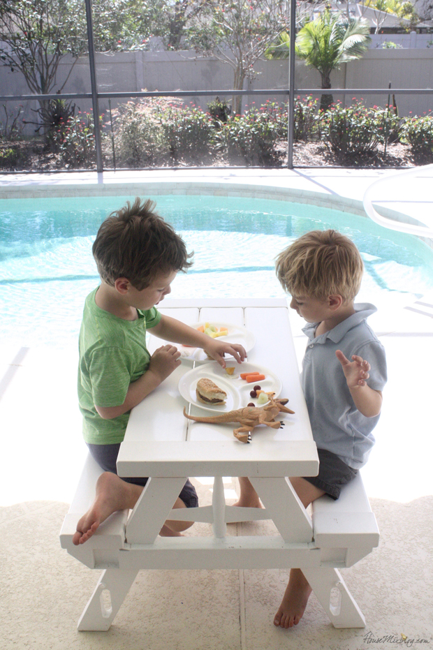 White foldable picnic table works great for kids and is easy on the eyes for adults. Also these divided Corell plates are perfec for picky kids who don't want their food to touch. The horror.