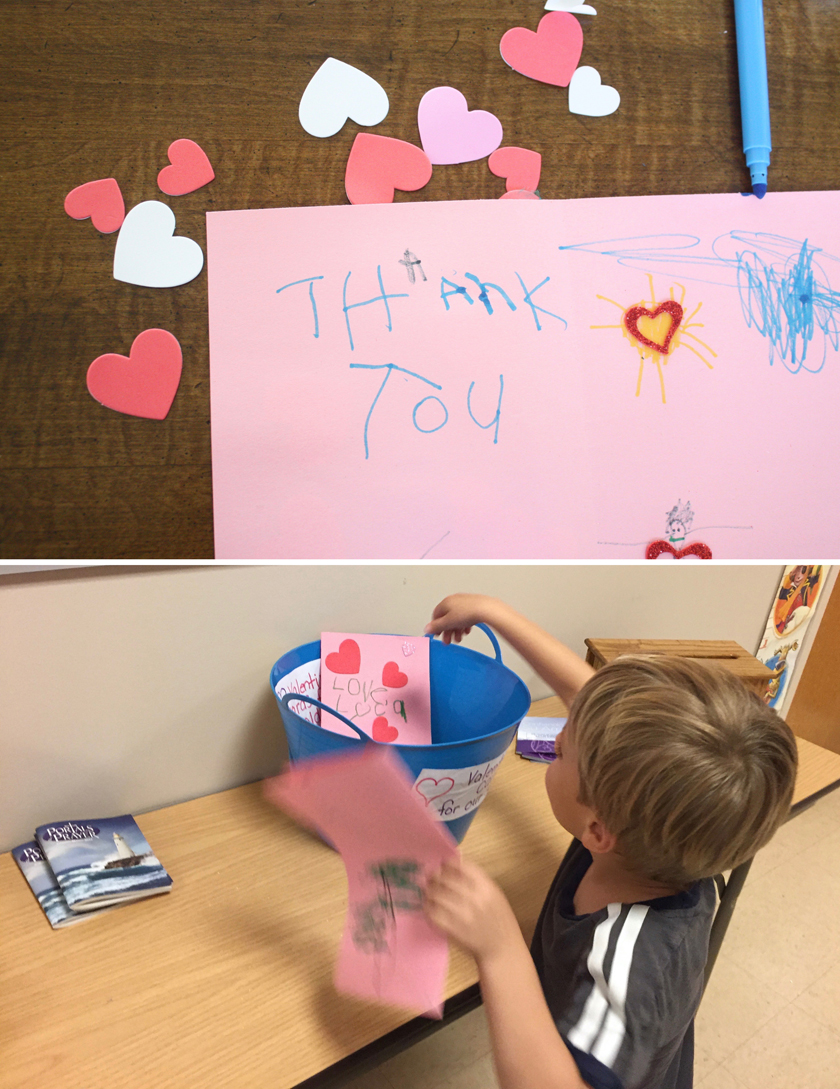 Grateful project with kids - sending valentines to soldiers