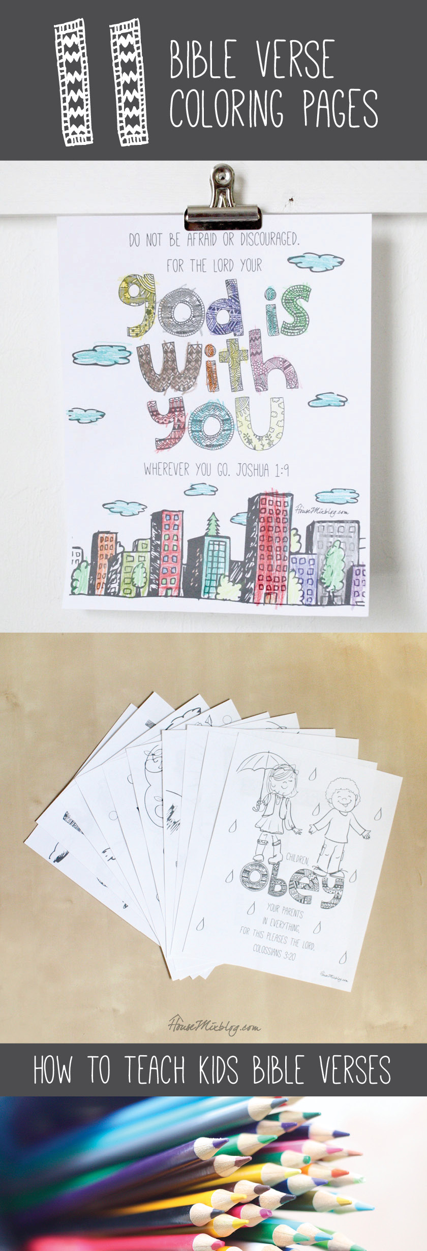 How to teach kids to memorize scripture with these coloring pages.