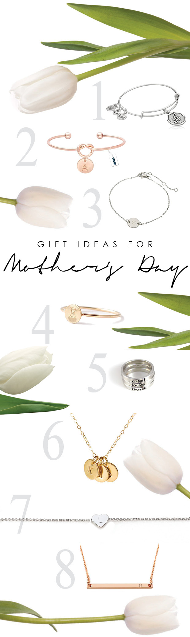 Gift ideas for mother's day - affordable initial jewelry that can be used for children's or grandchildren's names (and some have 2-day shipping!)
