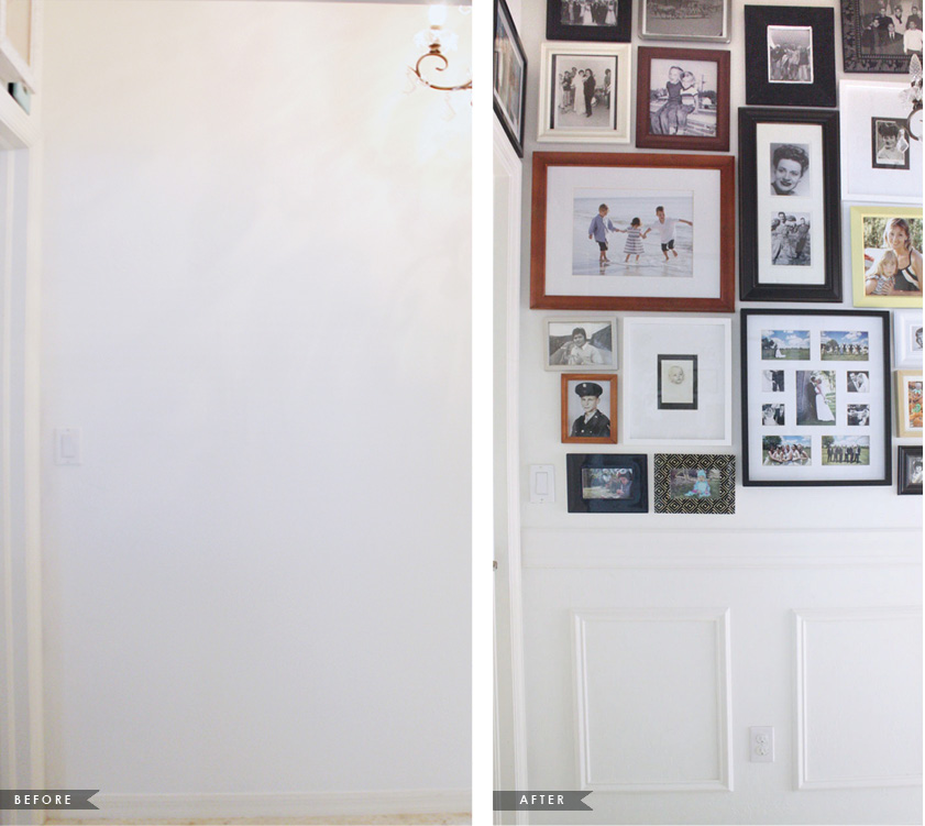 Hallway gallery with mismatched frames | House Mix