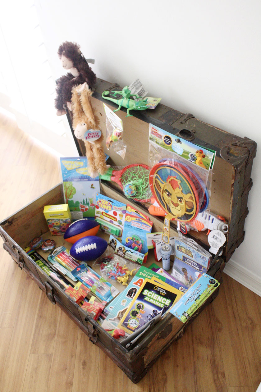 Treasure chest of prizes for kids with 40 dollars from the dollar store. Goes with a printable kindness chart and directions to end the summer bickering!
