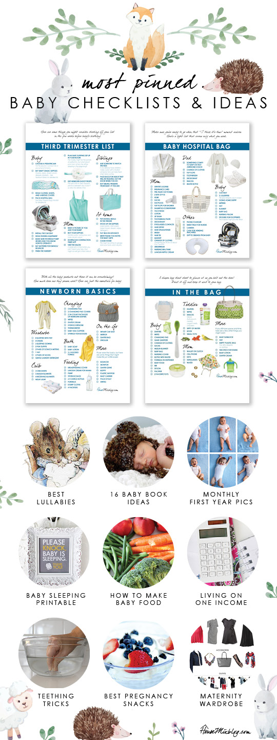 Here are printable checklists for your third trimester, registry, hospital bag and diaper bag. Also included are the best lullabies, baby book ideas, how to make baby food