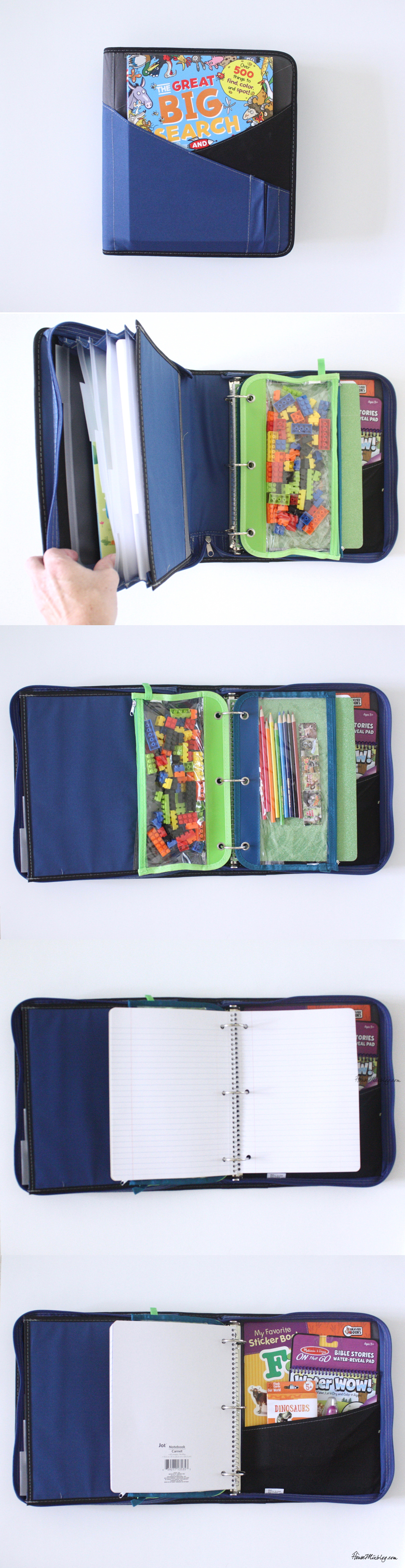 Binder of activities for kids on the plane with foldable backpacks