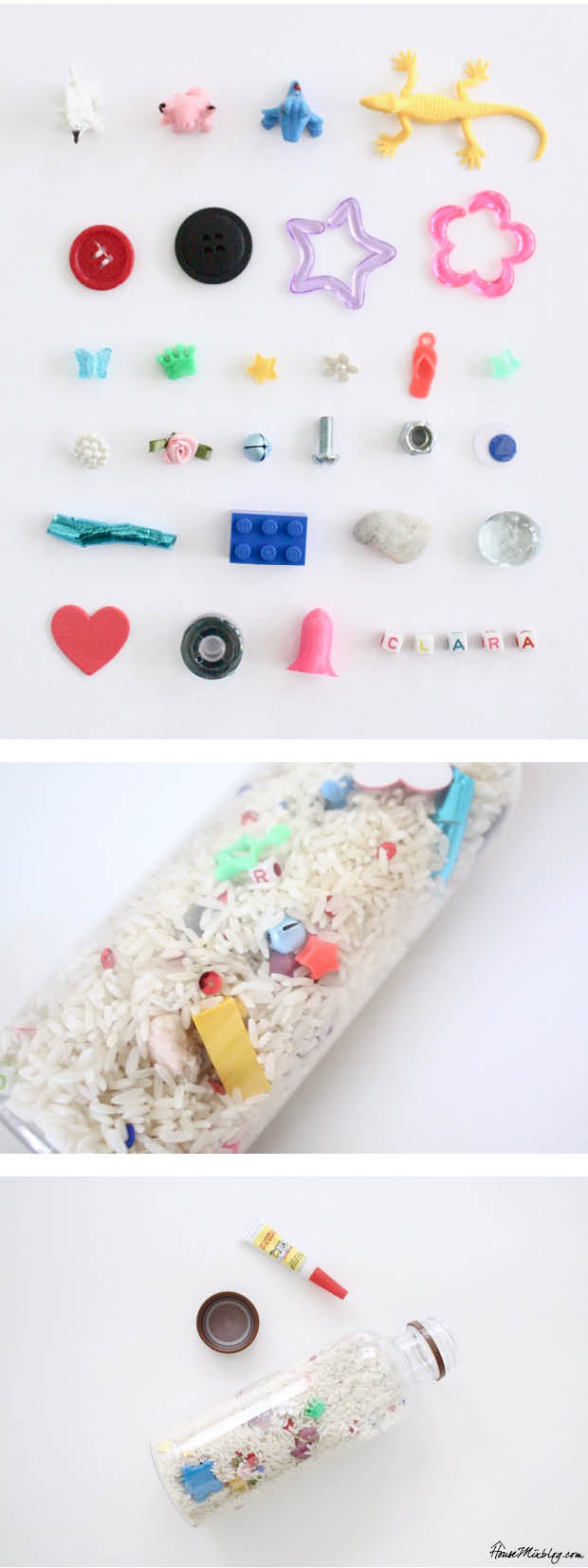 DIY find it bottle with rice and trinkets to keep kids occupied during travel or even in the waiting room