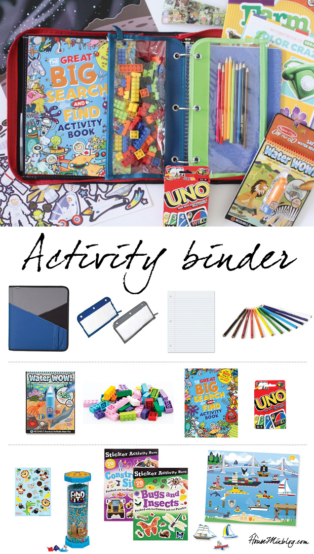 Keep kids busy on the plane with an activity binder. Here's what I put in mine.