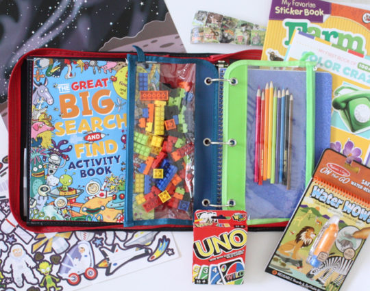 Kids activity binder for plane or road trip. Just grab it and go.