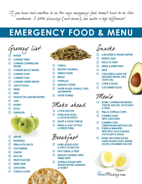 Healthy emergency hurricane grocery list and menu printable checklist - housemixblog.com