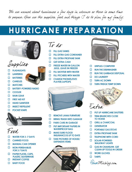 Printable hurricane emergency preparation checklist - housemixblog.com