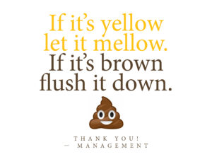 Printable sign - If it's yellow let it mellow. If it's brown flush it down.