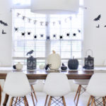 Black and white Halloween tablescape