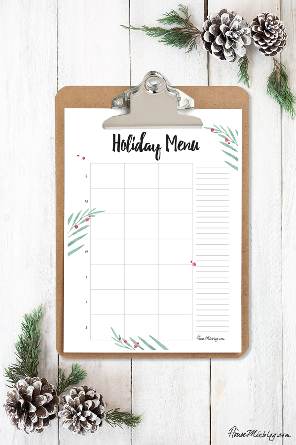 Christmas Planner - holiday menu printable