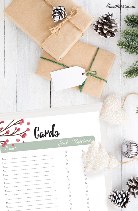 Christmas planner - Christmas card tracker sent and received