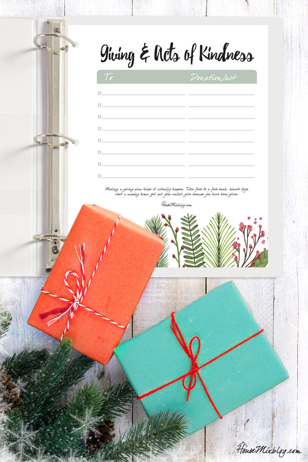 Christmas planner - Giving and acts of kindness plan