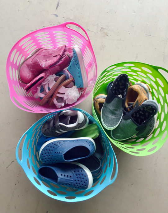 Color coded baskets for kids shoes