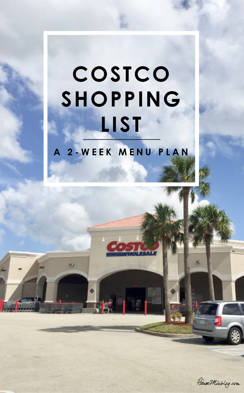 Costco shopping list - a 2 week menu plan