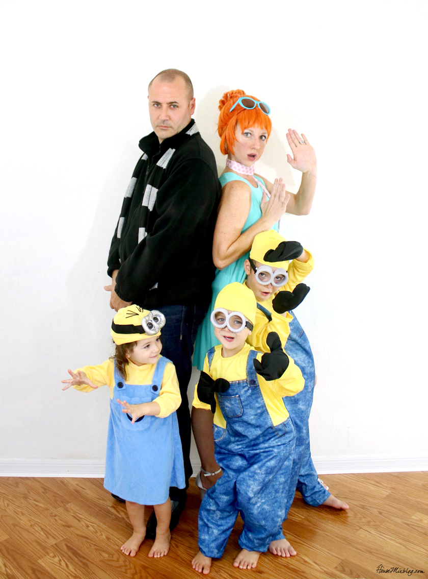 Despicable Me family Halloween costume idea - Gru Lucy and minions