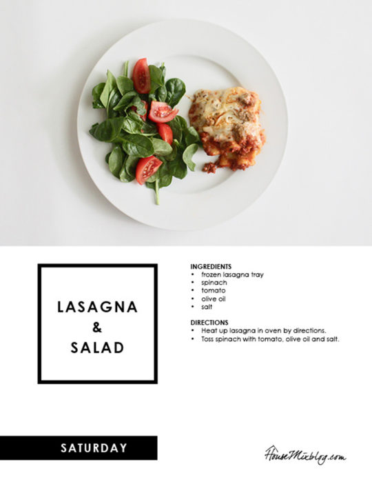 Easy Costco meal plan - lasagna and salad