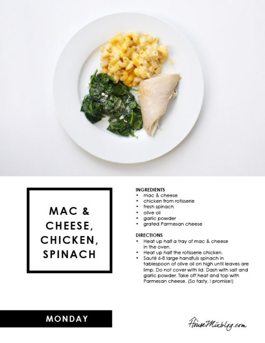 Easy Costco meal plan - mac and cheese and chicken