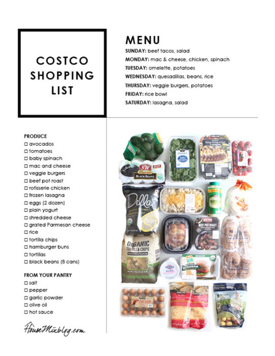 Easy Costco meal plan - shopping list