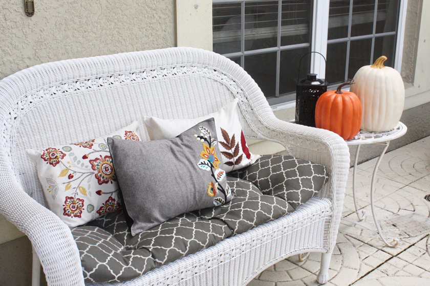Fall front door with $5 placemat pillows
