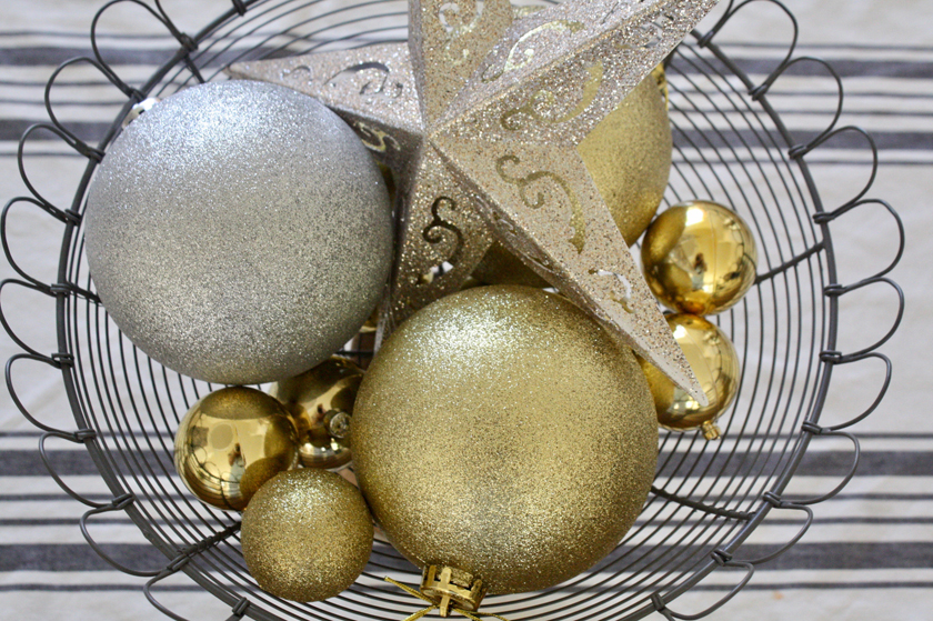 Gold and silver Christmas ornaments work for NYE
