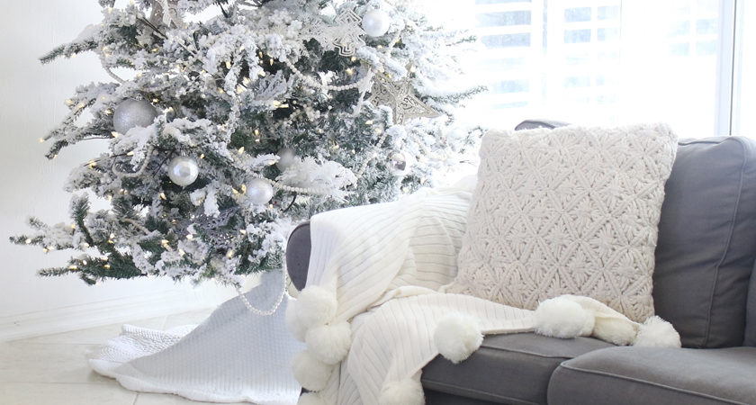 All White Christmas Decor With Flocked Tree