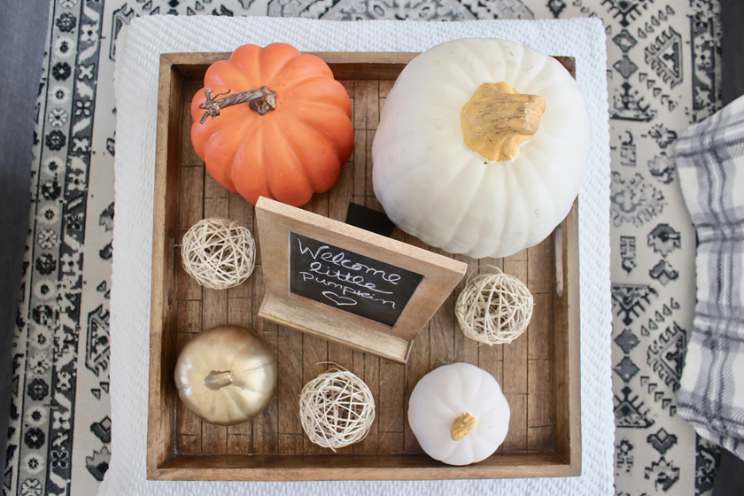 pumpkins and tray on coffee table - fall decor
