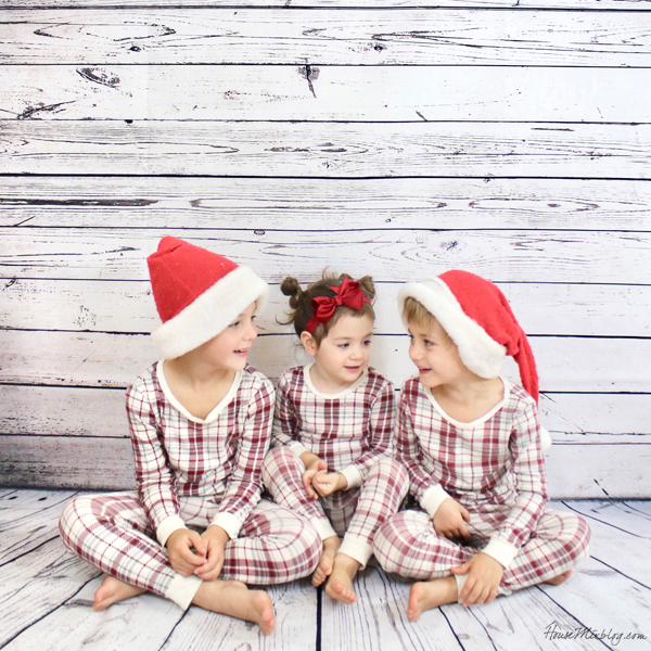 Christmas family photos in pajamas and santa hats