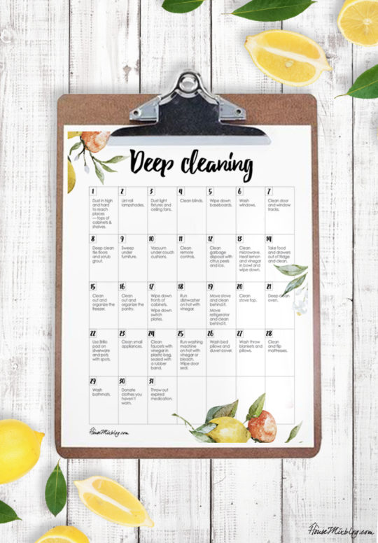 Deep clean house calendar checklist