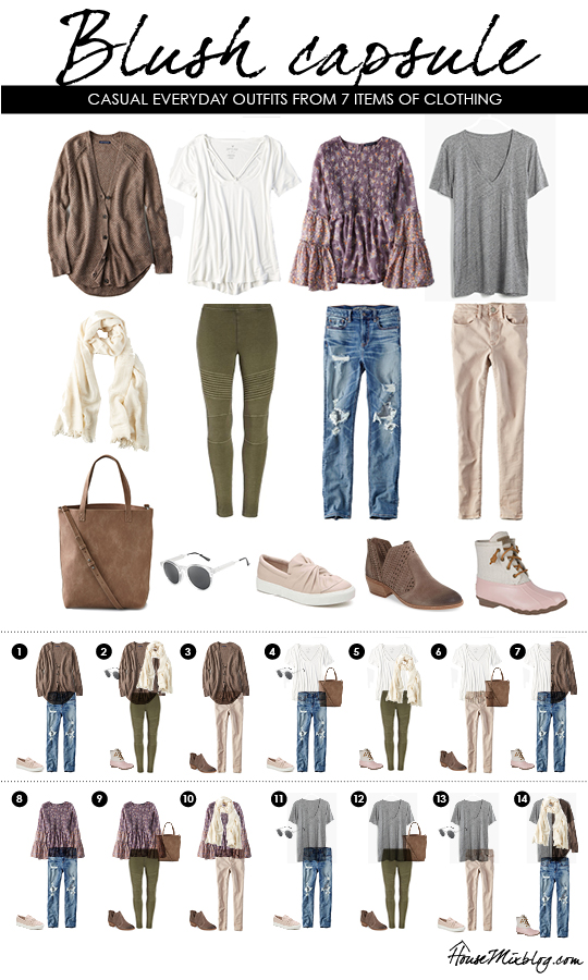 Wardrobe capsule - blush - casual everyday mix and match clothing pieces