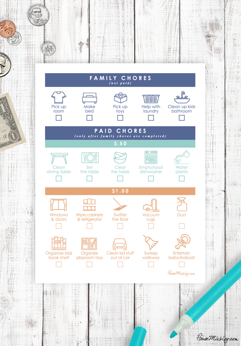 kid chore chart with family and paid chores