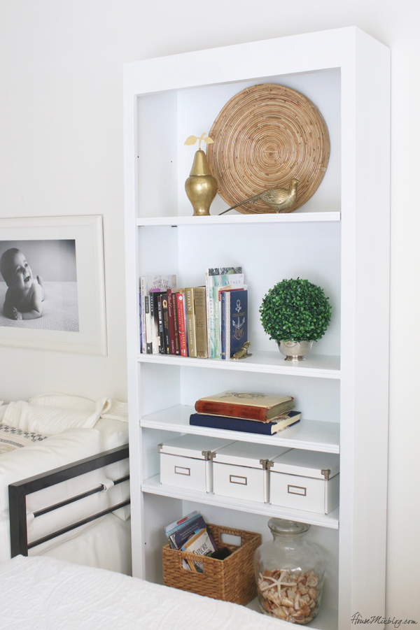 Craigslist bookshelf painted white