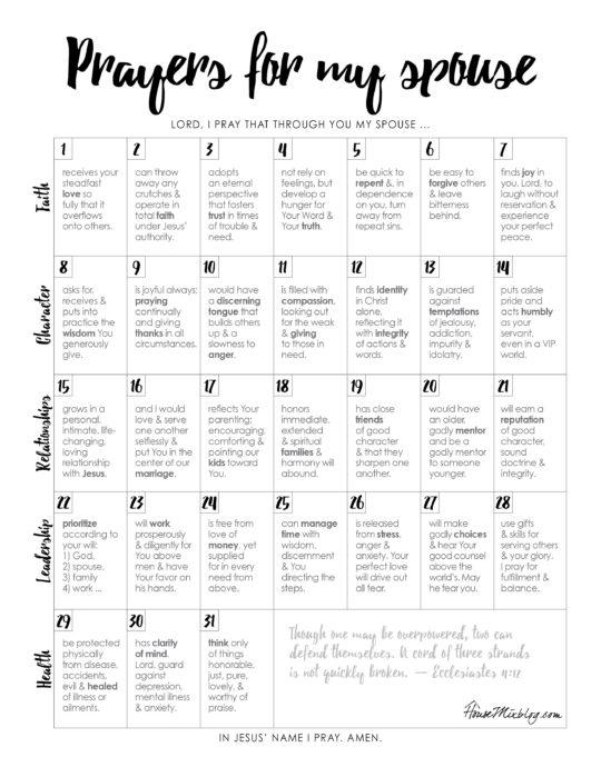 Printable calendar of prayers for my husband