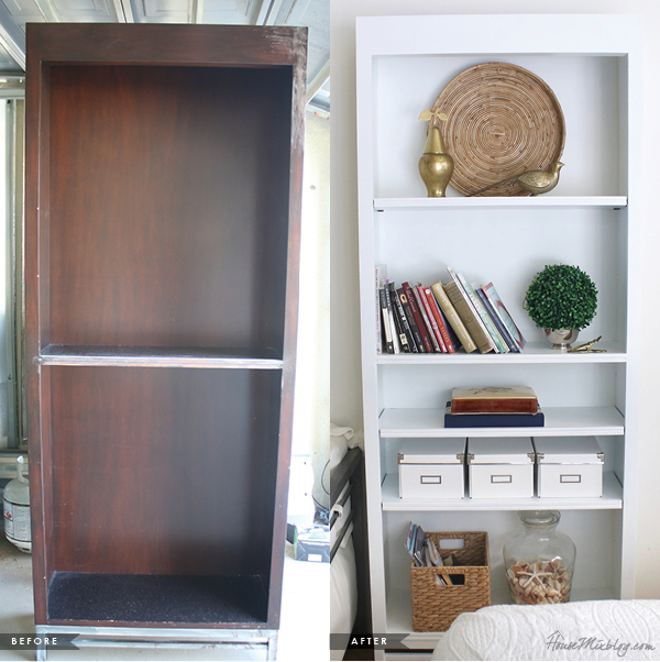 White bookshelf before and after