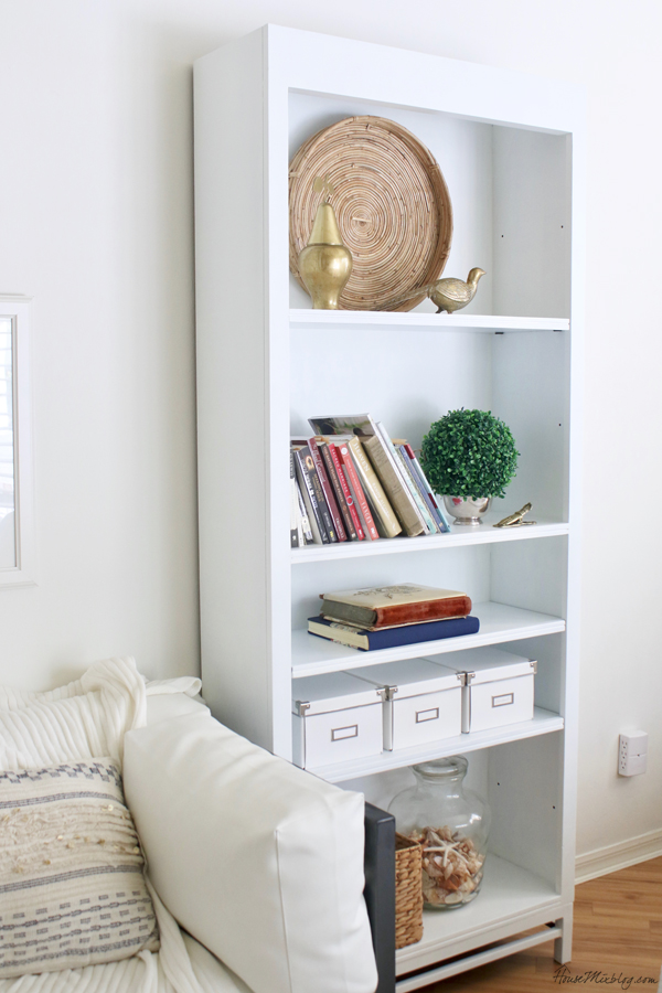 White bookshelf in the bedroom