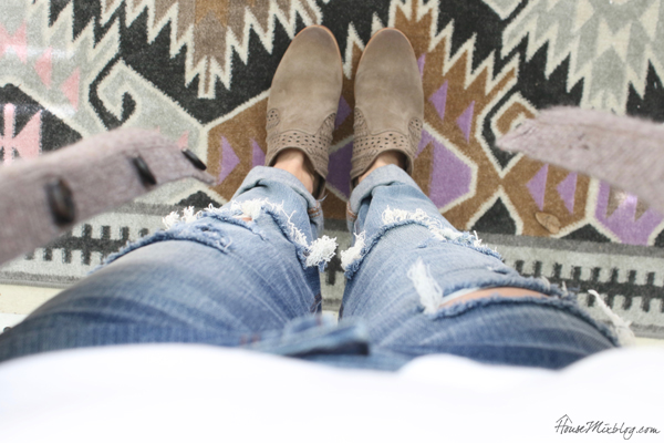 booties with ripped jeans white tee and cardigan