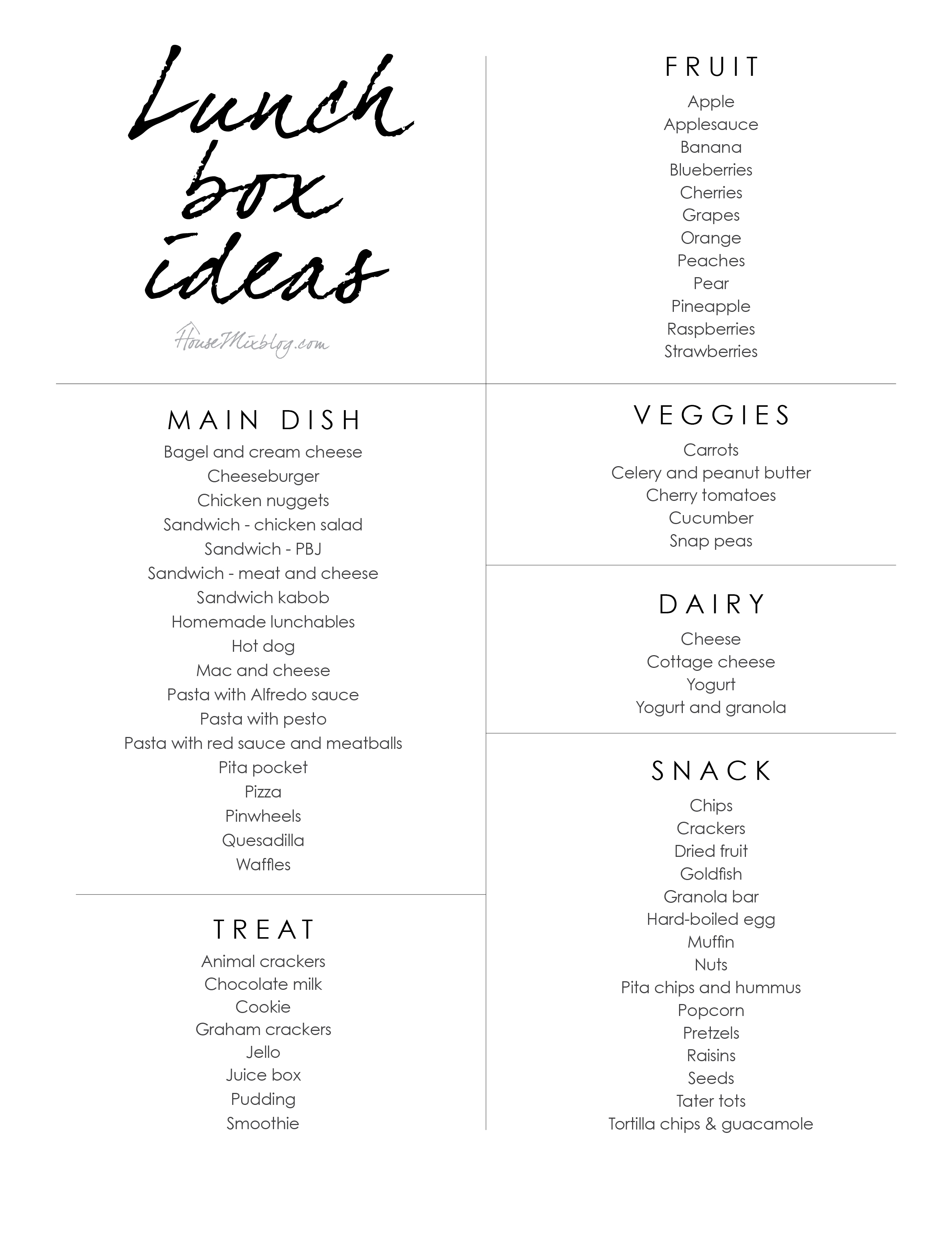Printable lunchbox idea list - easy kid school lunches to pack