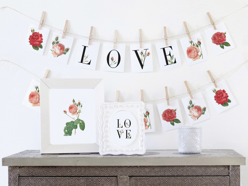 Valentines banner and party set printables