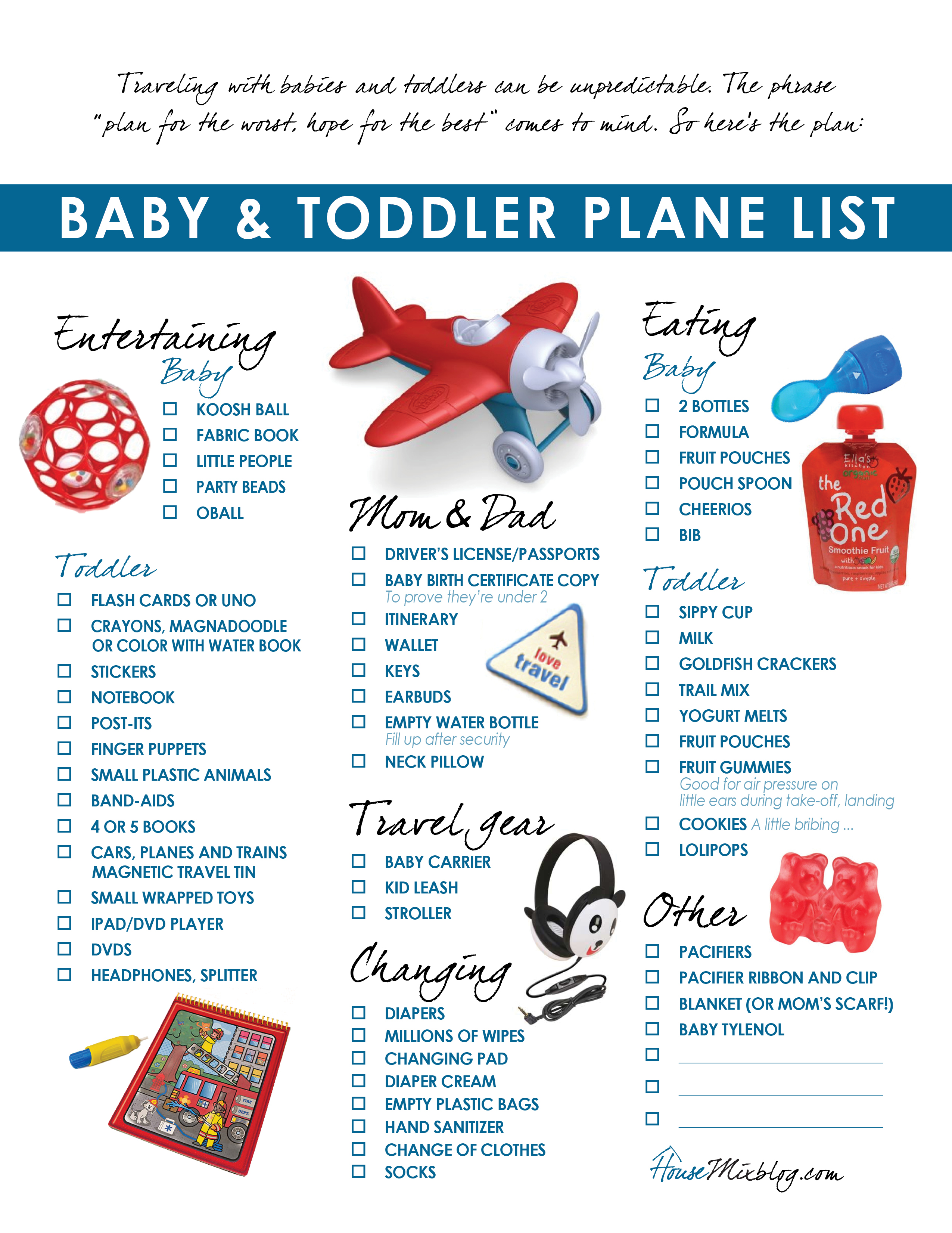 Travel part 6: Plane pack list for toddler & baby | House Mix
