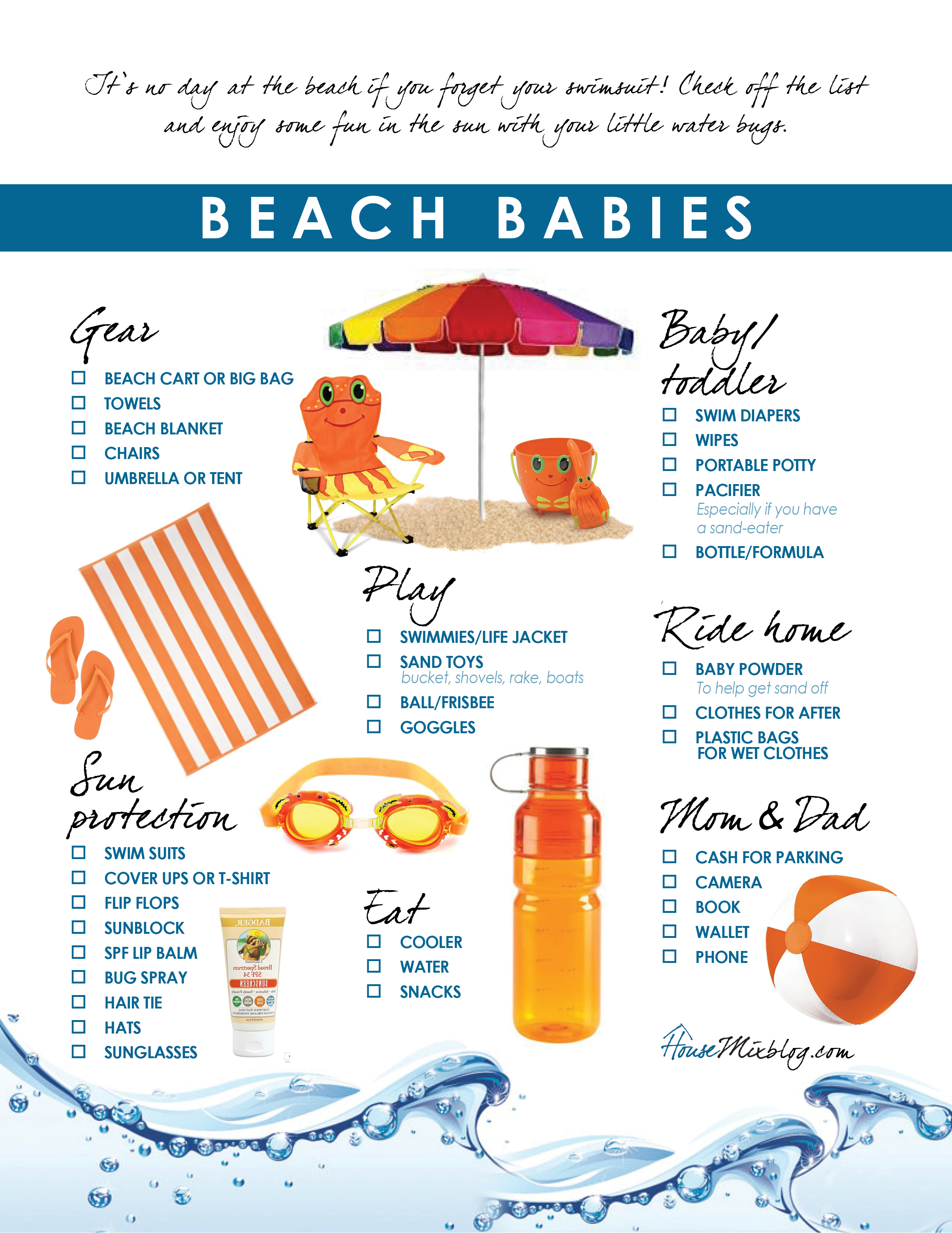 Beach Checklist For Kids House Mix