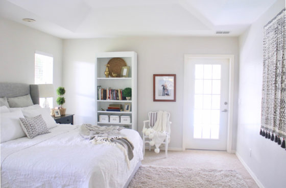 White and gray master bedroom