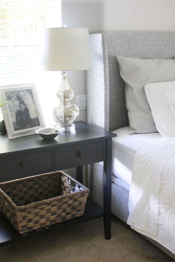 White, gray and black bedroom color palette