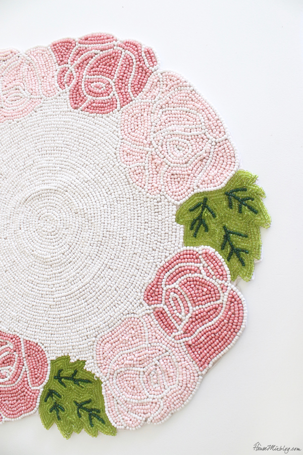 beaded pink and green floral placemat
