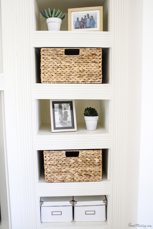 Built in shelf styling white and natural