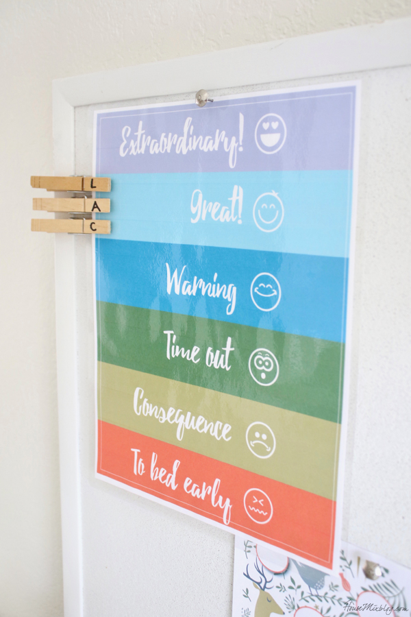 Free behavior chart with clothespins printable